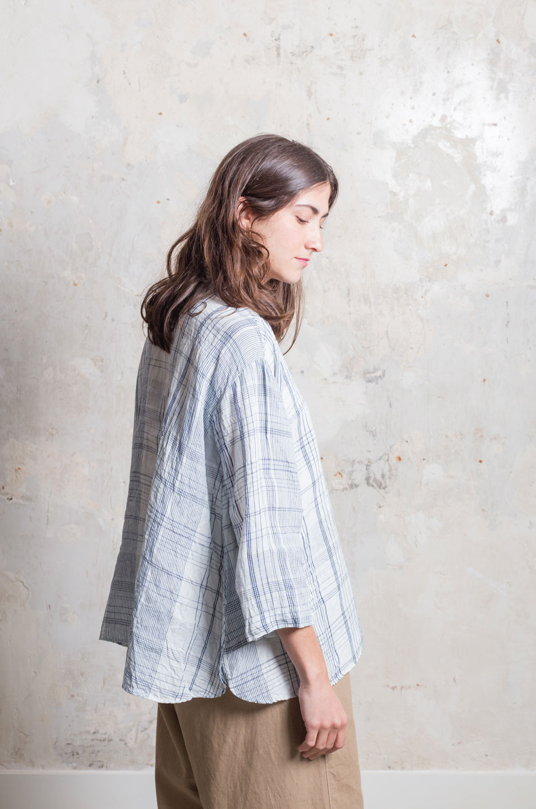 Ichi Antiqués - Indigo Check Shirts - White
