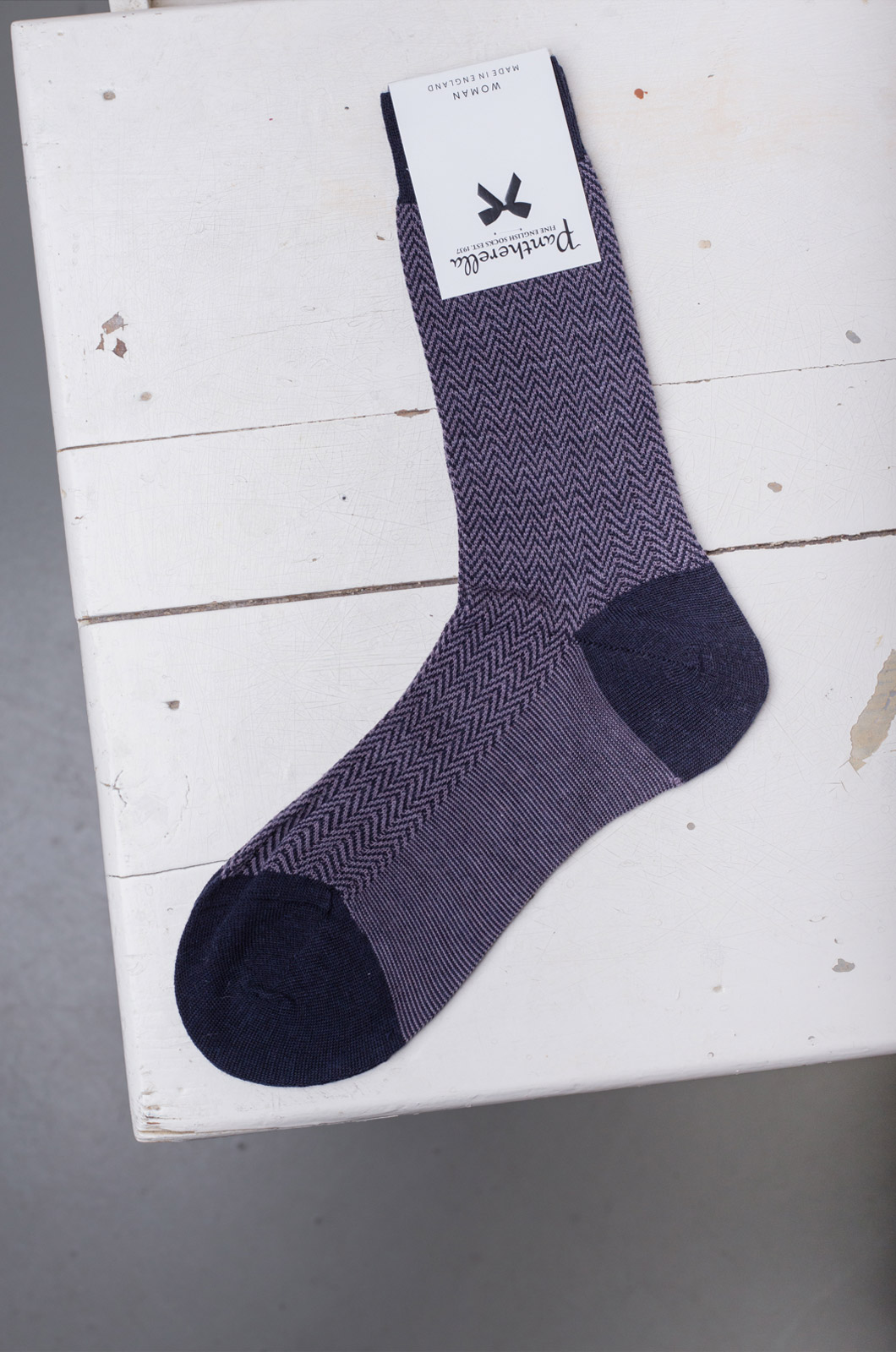 Pantherella - Short Socks Wool - Navy/Aubergine