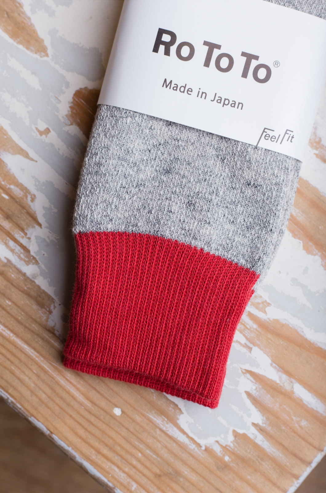 Rototo - Double Face Socks R1034 - Red/Light Grey