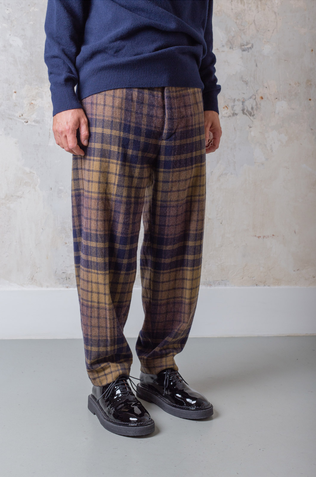 TS(S) - Pegtop Pants Large Plaid Milled - Navy Brown
